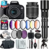 Canon EOS Rebel 800D/T7i Camera + 18-55mm IS STM Lens + 500mm f/8.0 Telephoto Lens + 6PC Graduated Color Filter Set + 2yr Extended Warranty + Backup Battery + Canon Bag - International Version