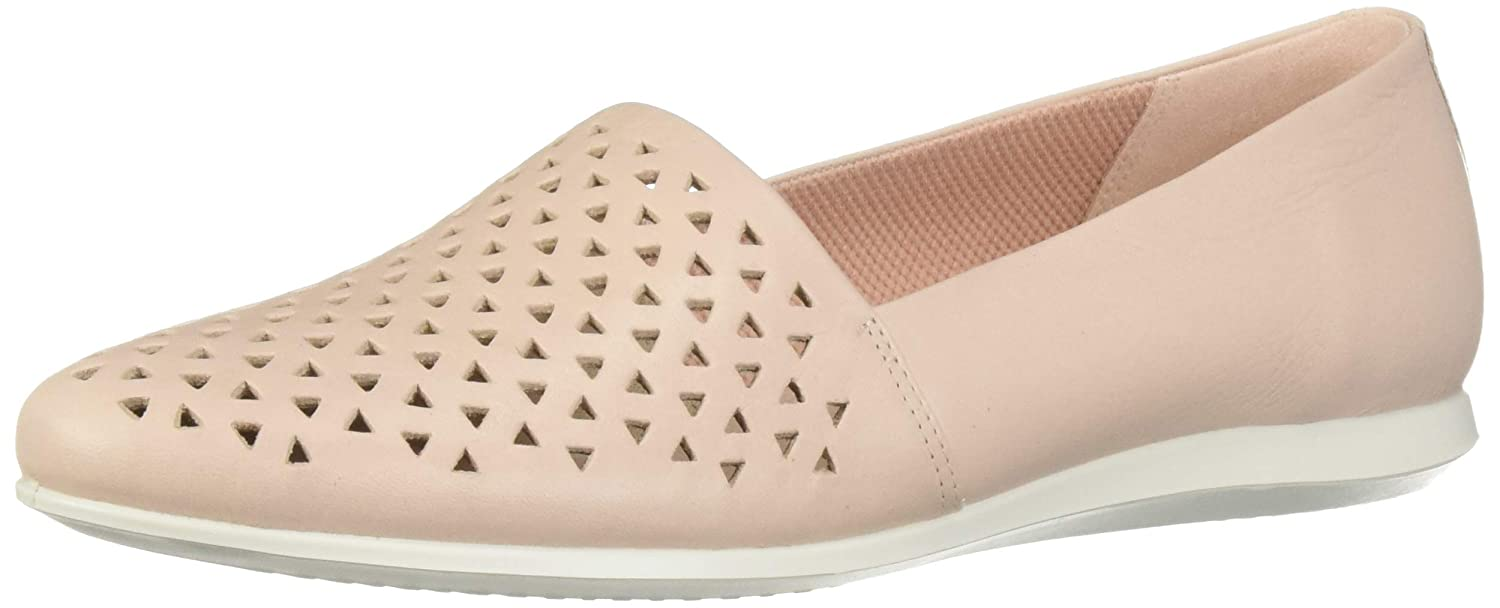 pink Dust Perforated ECCO Womens Touch Ballerina 2.0 Ballet Flat
