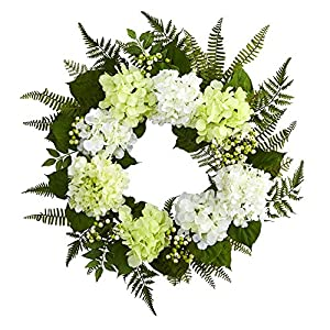 "Nearly Natural 24"" Hydrangea Berry Wreath White 30"