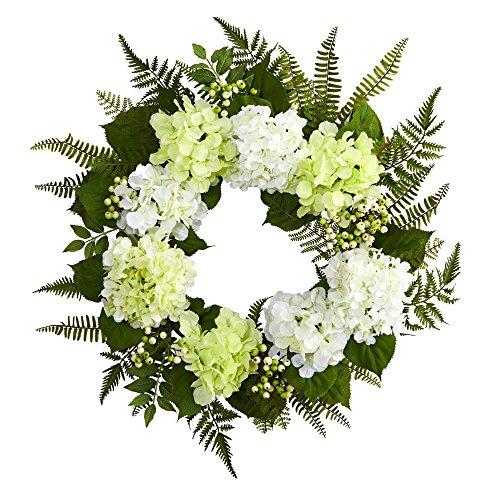 "Nearly Natural 24"" Hydrangea Berry Wreath, White (Hydrangea Green Wreath)"
