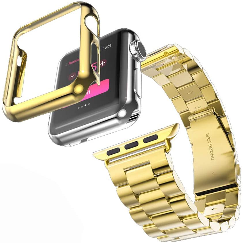 HUANLONG Compatible with Apple Watch Band Series 1/2/3/4, Stainless Steel Strap Band w/Adapter+Case Cover Compatible for iWatch 40/44mm (H Gold 44mm)