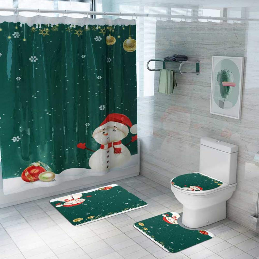 ESHOO 10 Pcs Christmas Bathroom Sets with Non-Slip Rugs, Toilet Lid