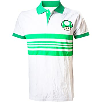573cc304 Nintendo Super Mario Bros Green Mushroom Polo Shirt (Small, White/Green):  Amazon.co.uk: Toys & Games