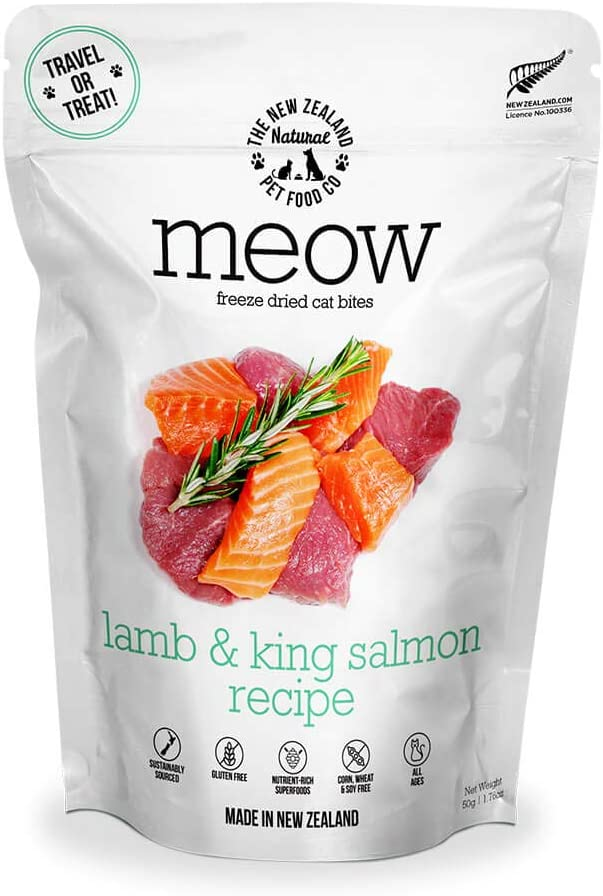 Meow Lamb & King Salmon Freeze Dried Raw Cat Food, Topper, or Treat - High Protein, Natural, Limited Ingredient Recipe 1.76 oz