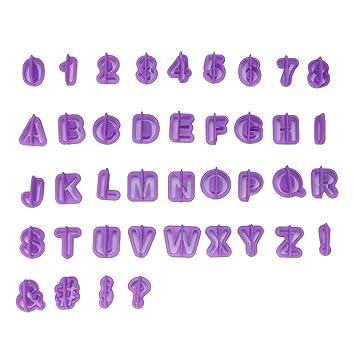 Jaminy - Molde cortador de glaseado (40 unidades), diseño de letras del alfabeto, color morado: Amazon.es: Hogar
