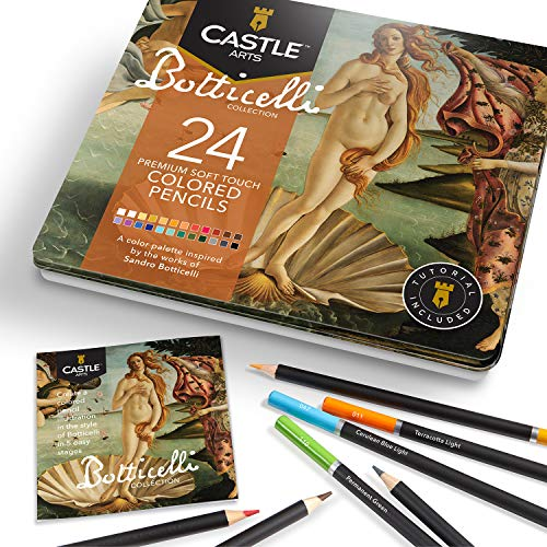 Castle Arts Themed 24 Coloured Pencil Set in Tin Box, perfect 'Botticelli' inspired colours. Featuring high-quality, smooth coloured cores, superior blending & layering performance for great results
