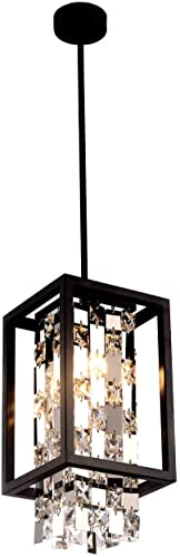 BEIRIO Modern K9 Crystal Pendant Lighting with 2-Lights LED Bulbs and Black Rectangle Metal Shade Adjustable Island Light for Restaurant Kitchen Table Bedroom Living Room Dining Room 6.7 13.4 inch