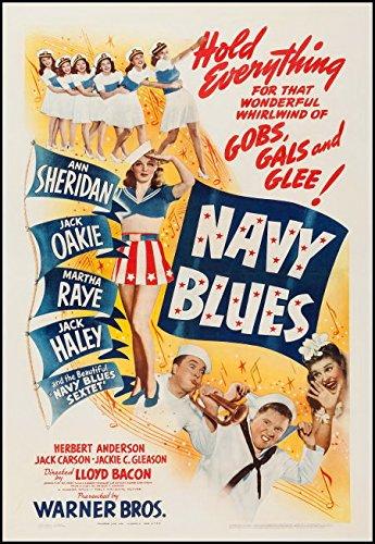NAVY BLUES-Original-1941-27x41-Poster On Linen-Martha Raye-Jackie Gleason 1st Movie