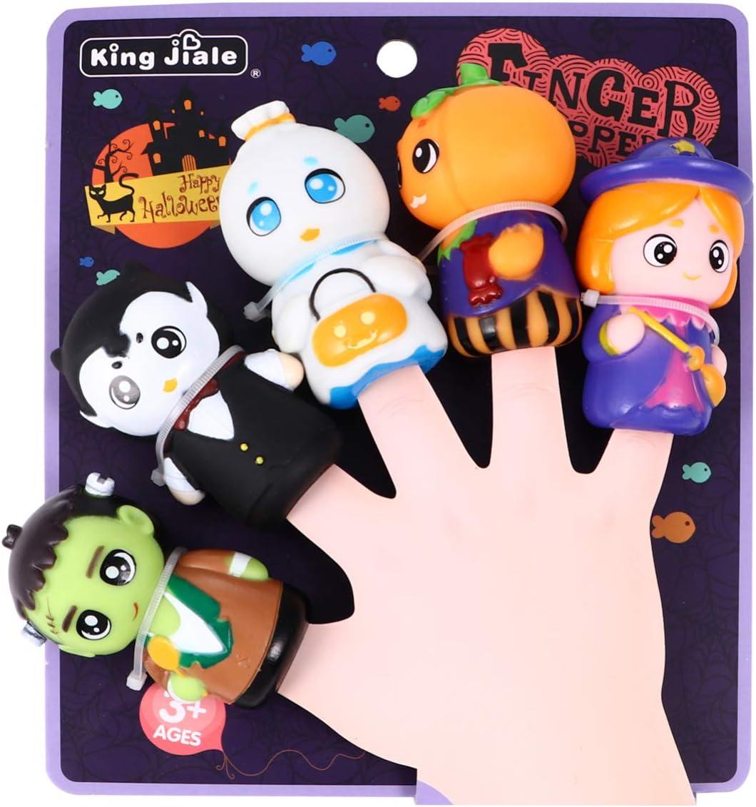 PRETYZOOM 5 Piezas de Halloween Marioneta de Dedo Bruja Fantasma Calabaza Personaje Juguetes de Dedo Accesorios de Narración Fiesta de Halloween Favores Relleno de Bolsas de Regalos