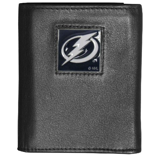 NHL Tampa Bay Lightning Genuine Leather Tri-Fold (Tampa Bay Lightning Fleece)