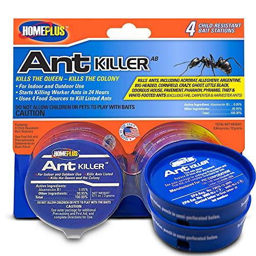 Home Plus Ant Killer (4-Pack), Metal Ant Traps Indoor & Outdoor, Ant Bait Station, Effective Ant Control System, 4 Cans Ant Bait Traps, Ant Traps w/Food-Based Attractants, Pesticide-Free Ant Baits (Best Way To Kill Fire Ants In The House)