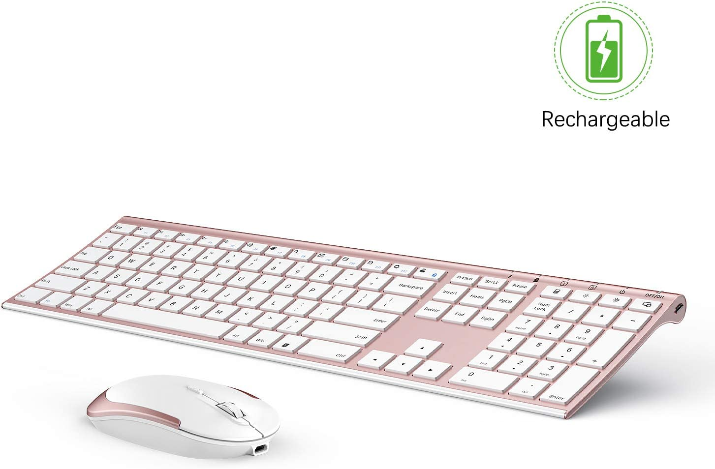 Wireless Keyboard and Mouse, Vssoplor 2.4GHz Rechargeable Compact Quiet Full-Size Keyboard and Mouse Combo with Nano USB Receiver for Windows, Laptop, PC, Notebook-Rose Gold