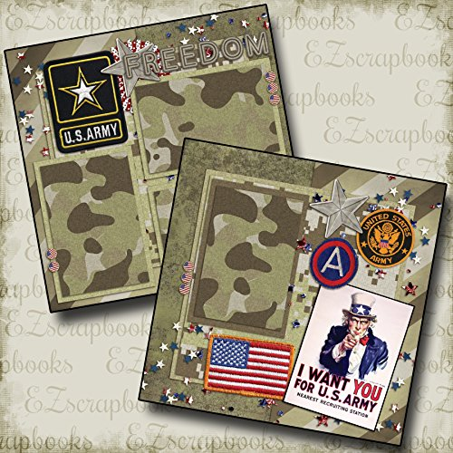 ARMY - Premade Scrapbook Pages - EZ Layout 137 (12x12 Page Layout Scrapbooking)