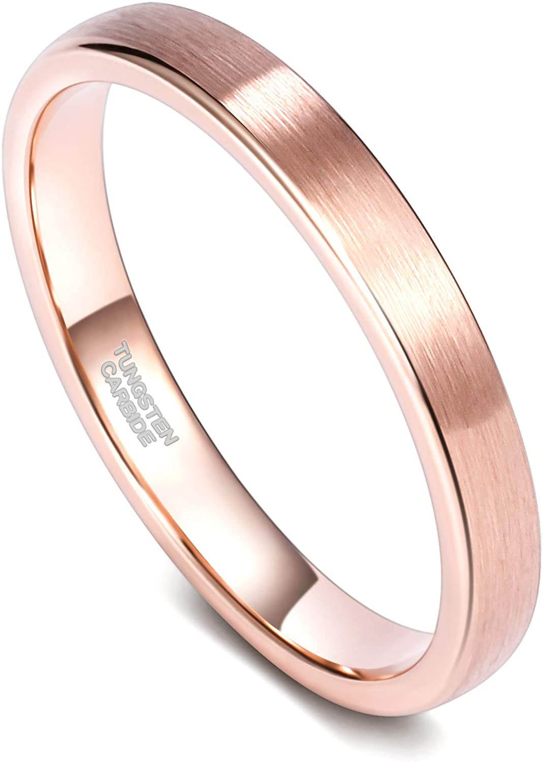TRUMIUM 3mm Rose Gold Tungsten Rings for Women Mens Brushed Thin Engagement Wedding Band Comfort Fit Size 4-12