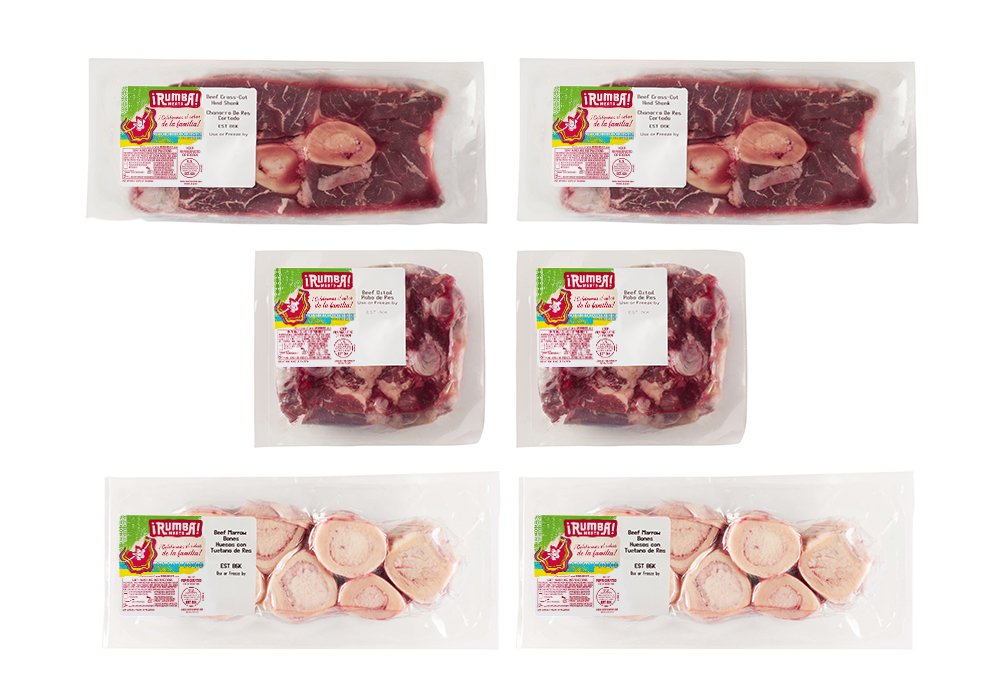 Rumba Meats Beef Bone Broth Box, Oxtail, Hindshank, and Marrow Bones, Frozen (Pack of 6)