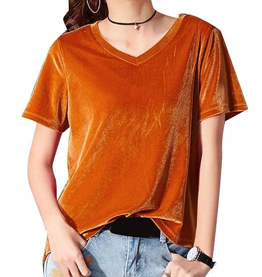 01b941006b5 Coolred-Women Boyfriend Plus-Size Velour Velvet Short-Sleeve Tees Top at Amazon  Women s Clothing store