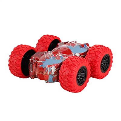 LINKIOM Inertia-Double Side Stunt Graffiti Car Off Road Model Mini Car Vehicle Kids Toy Gift for Boys and Girls, Best Birthday Gift for Kids (Red, 7.5x7.5x3cm): Clothing