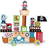 Blockbeard's Pirate Ship Wooden Building Blocks Playset (29 pcs.) by Imagination Generation