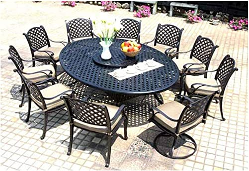 Cast Aluminum Dining Set 12 Piece Outdoor Patio Furniture Nassau 70″x100″ Table Bronze Desert