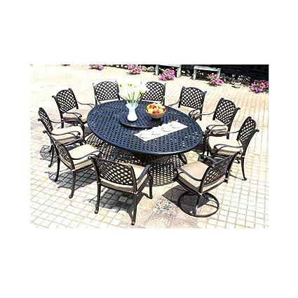 Amazon.com: Cast Aluminum Dining Set 12 Piece Outdoor Patio Furniture Nassau  70