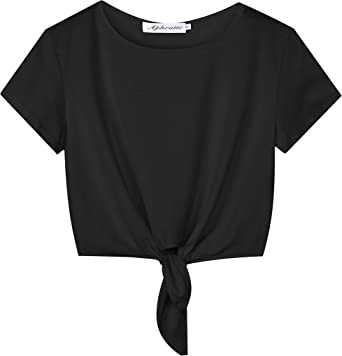In particolare lungo Inverso  Aphratti Women's Short Sleeve Cute Summer Tie Knot Front Crop Top Tee T  Shirt at Amazon Women's Clothing store