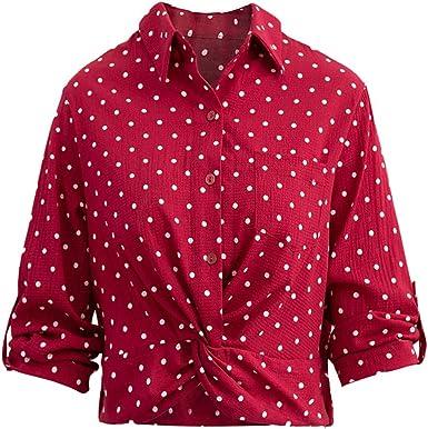 SXZG Camisa de Gasa con Solapa Y Un Solo Pecho para Mujer Camisa Delgada de Lunares de Manga Larga para Mujer: Amazon.es: Ropa y accesorios