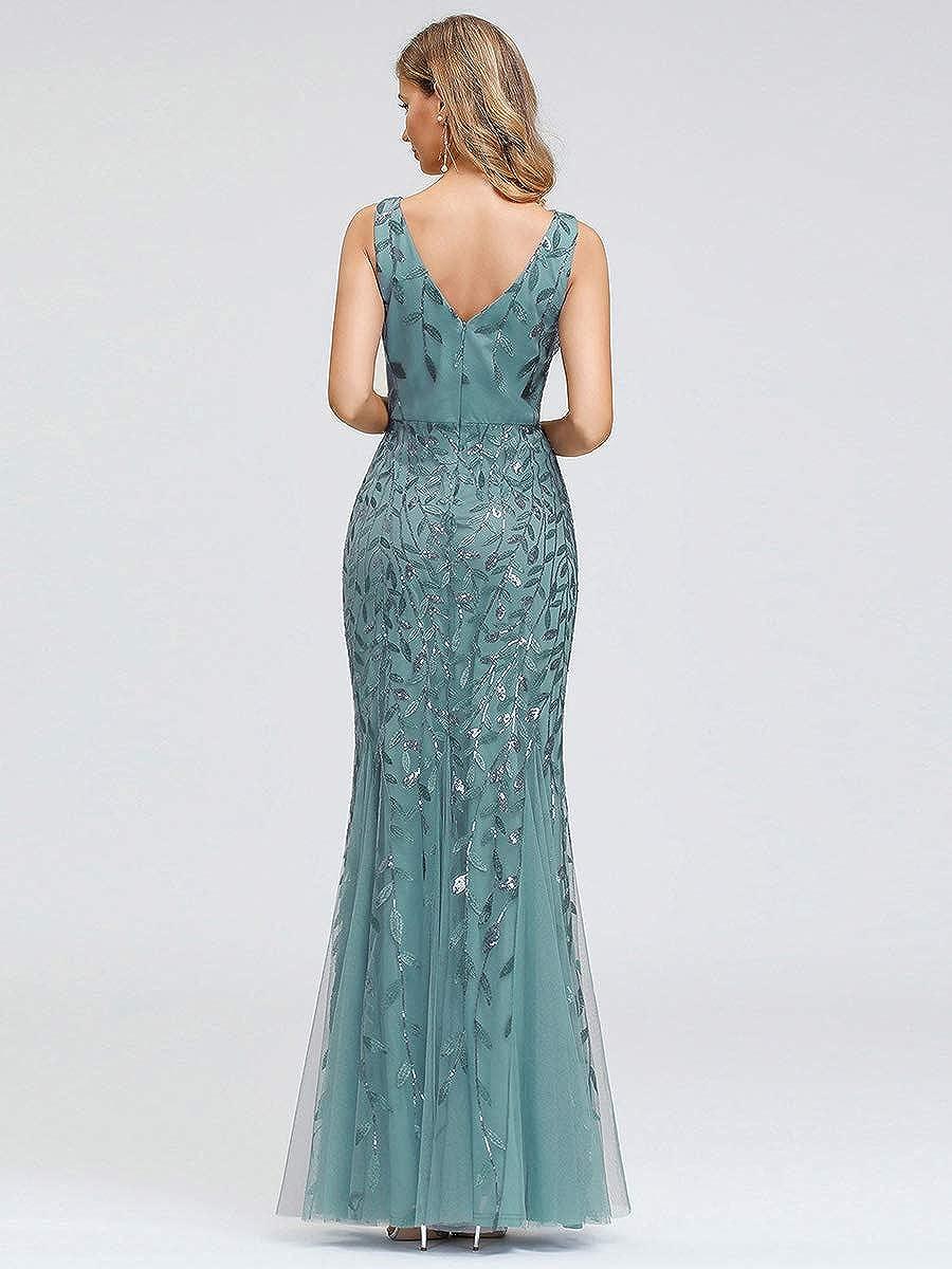 Ever-Pretty Vestito da Cerimonia Donna Sirena Paillettes Tulle Petto Basso Scollo a V Senza Maniche Stile Impero 07886