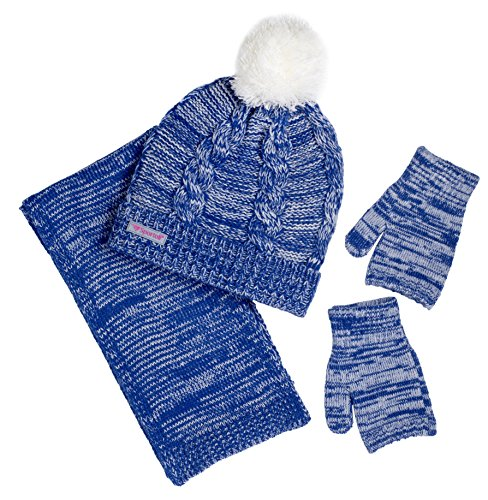 Blue Kids Beanie (Sportoli Girls' Kids Cable Knit Cold Weather Accessory Set Warm Pull On Hat Scarf and Gloves (Navy / White))