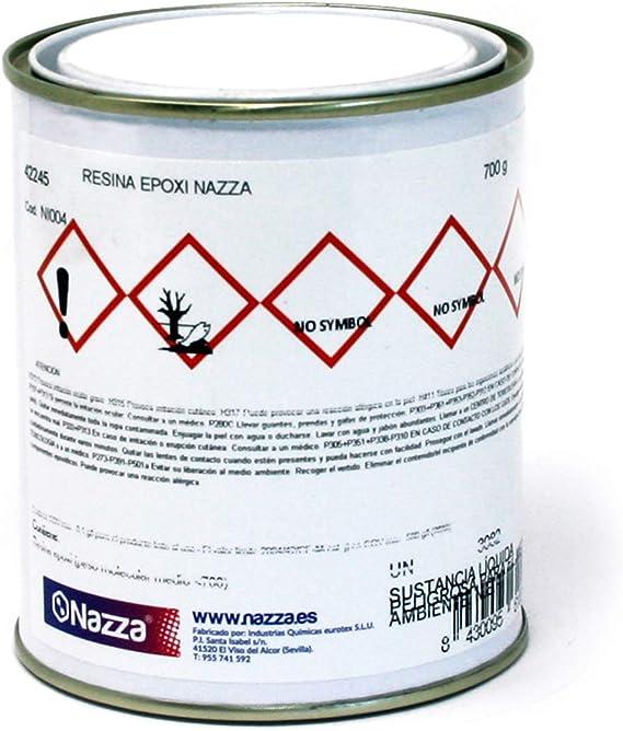 Nazza Resina Epoxi Líquida, Transparente y Autonivelante Para Coladas, Oclusiones y Encapsulaciones, 700 gr.