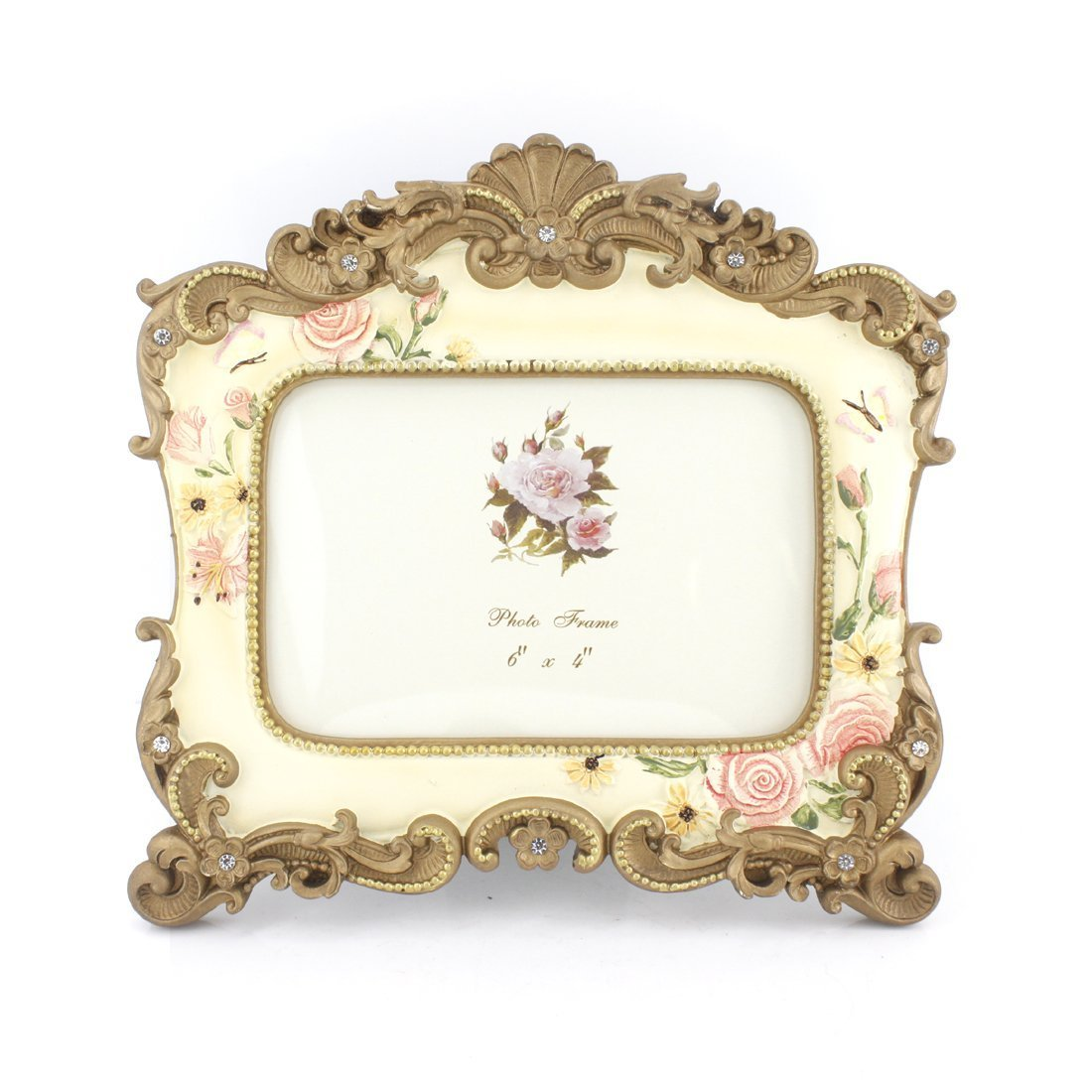 4x6 Inches Victorian Floral Decorated Rectangular Photo Frame for Home Decor