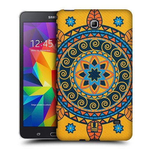 Head Case Designs Mustard Indian Monograms Protective Snap-on Hard Back Case Cover for Samsung Galaxy Tab 4 7.0 T230 T231 T235