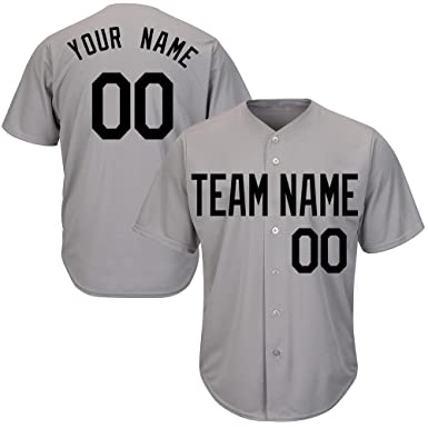 7f8f82afc Custom Men's Gray Baseball Jerseys Button Down with Embroidered Team Name  Player Name and Numbers,