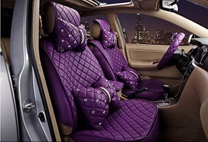 Fabulous 18Pc Superior Quality Luxury Purple Seat Covers Imitation Machost Co Dining Chair Design Ideas Machostcouk