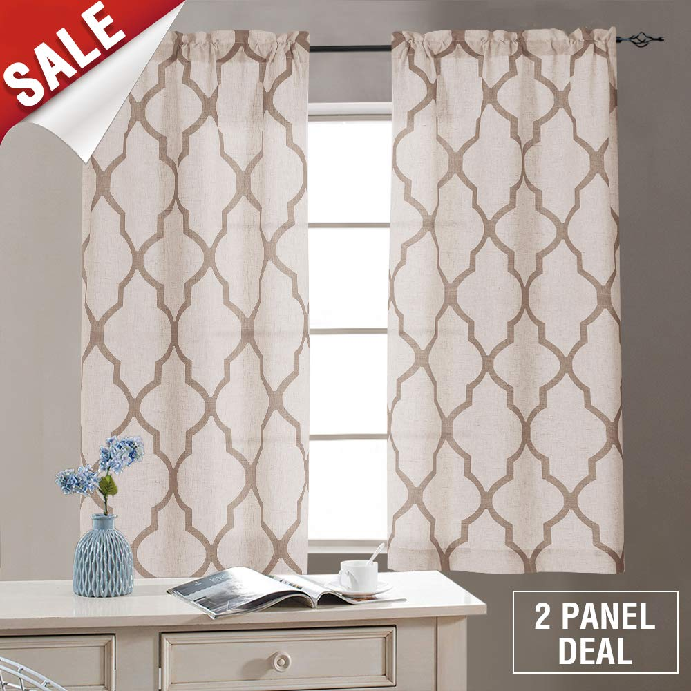 Linen Kitchen Tiers 45 Length, Moroccan Print Geometry Privacy Half Window Curtains for Bathroom (1 Pair 26'' W x 45'' L Taupe)