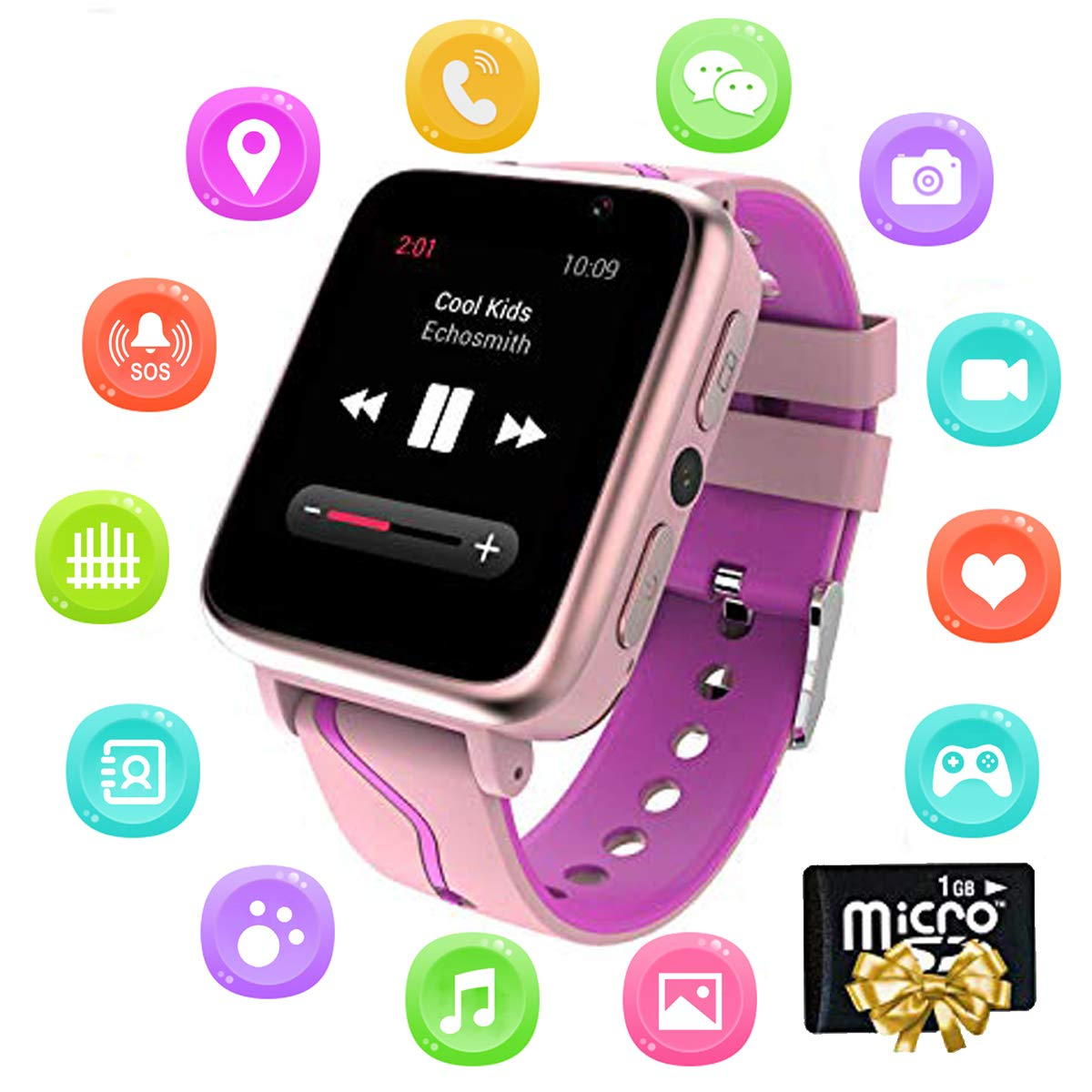 Kids Music Smart Watch - [1GB Micro SD Included for Music] HD Touch Screen Kids Smart Watch with SOS MP3 Music Player Voice Chat LBS Tracker Camera ...