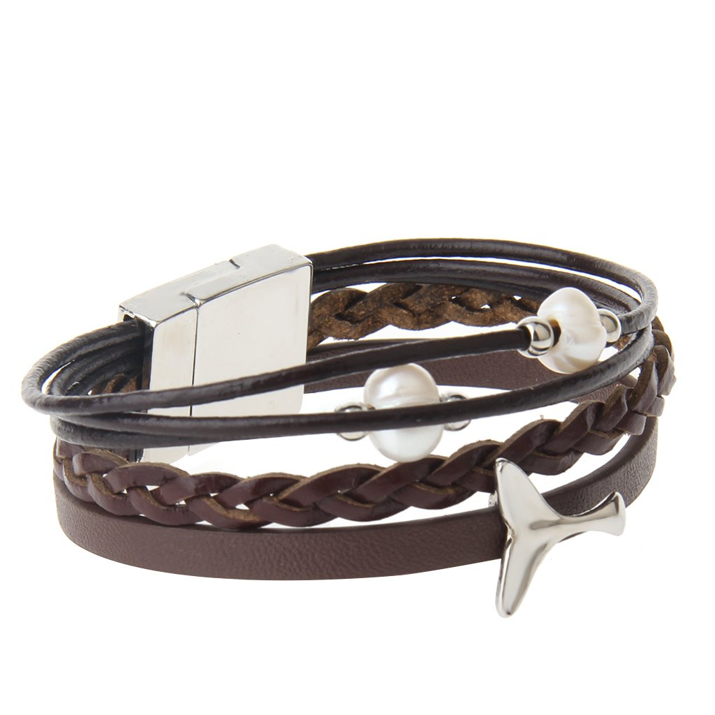 Baosity 2Pcs Party Gifts Decoration Leather Wristband Club Accessory Magnetic Style