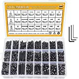 M2 M3 M4 Alloy Steel Screws Nuts and Washers 1200PCS, Sutemribor Hex Socket Head Cap Bolts Screws Nuts Washers Assortment Kit with Three Hex Wrenches