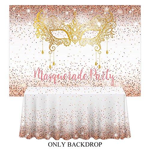 Allenjoy 7x5ft Masquerade Night Backdrop Gold Golden Glitter Mask Mardi Gras Carnival Prom Background Backdrops Happy Birthday Party Decor Decoation Banner Photo ()