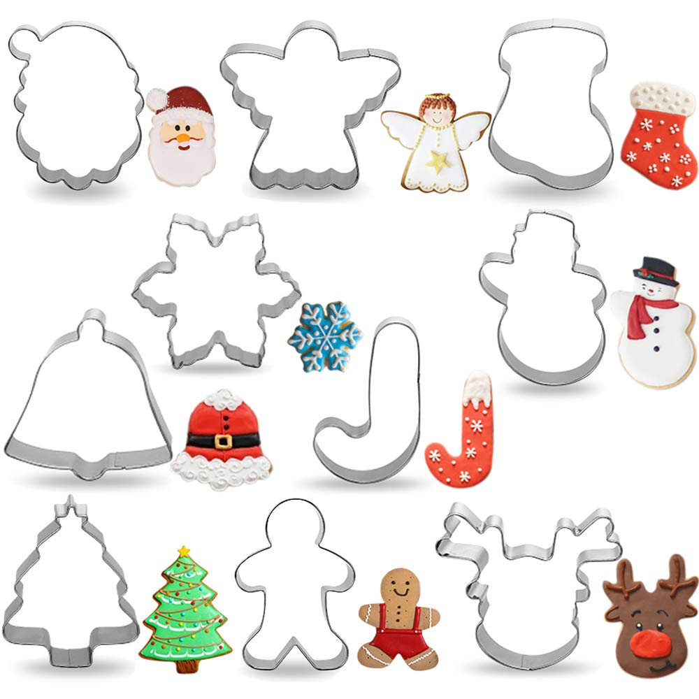 Pekaqose 10 PCS Cookie Cutters  Christmas and Holiday Cookie Cutter Set  Gingerbread Boy  Snowman  Santa Face  Angel  Jingle Bell and More Cookie Cutters Molds