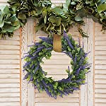 HANTAJANSS-Artificial-Lavender-Flower-Wreath-for-Front-Door-15-Inches-Purple-Silk-Fake-Flowers-Green-Leaves-Garland-for-Spring-Summer-Winter-Home-Wall-Wedding-Dcor