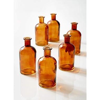 Serene Spaces Living Amber Medicine Bottle Bud Vases, Set of 6 - Antique Glass Bottles, 5.25  Tall & 2.5  in Diameter