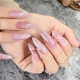 EchiQ Stiletto uñas postizas rosa oscuro mármol Shell extra largo Sharp piedra textura patrón falso uñas