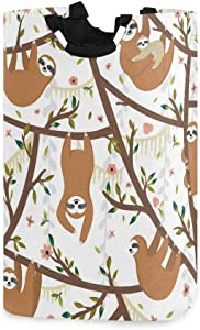 Cute Animal Sloth Hanging on The Tree Large Laundry Hamper Bag Collapsible with Handles Waterproof Durable Clothes Round Washing Bin Dirty Baskets Organization for Home Bathroom Dorm College…