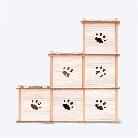 QNMM Gato Apartamento Interior Estéreo Gato Casa Gato Garras Casa Arañazo Placa Protección Duradera del Medio