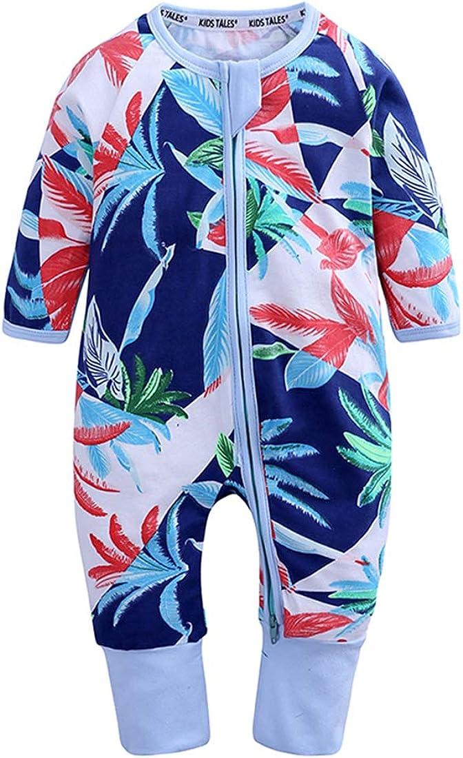 AIKSSOO Infant Newborn Baby Unisex Onesies Organic Cotton Romper Pajamas