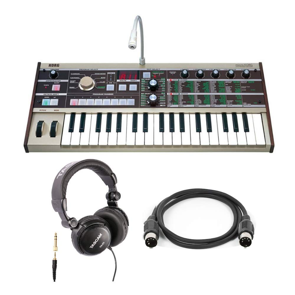 Korg microKORG 37-Key Keyboard Synthesizer and 8-Band Vocoder Bundle with Headphones and MIDI Cable by Korg