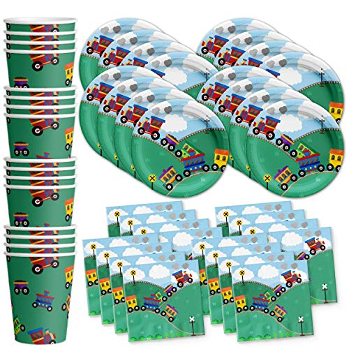 Train Birthday Party Supplies Set Plates Napkins Cups Tableware Kit for 16