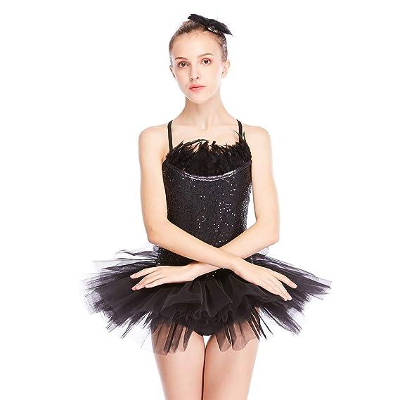 177f9151de MiDee 2 Pieces Camisole Sequined Feather Ballet Tutu Dress Dance Costume   Amazon.co.uk  Clothing