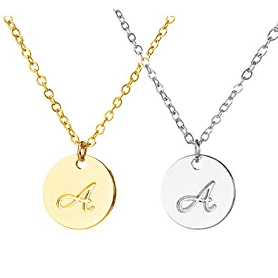 Amazon hacool set of 2 delicate script disc initial necklace hacool set of 2 delicate script disc initial necklace simple round letter pendant 925 sterling silver mozeypictures Image collections