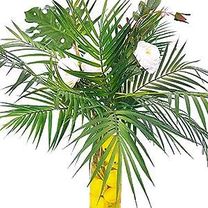 Supla 3 PCS 3 Size ArtificialAreca Palm TropicalLeaves Stems Faux Plastic PalmTreeLeaves Faux Monstera Leaves Plastic Palm Leaf Greenery Floral Arrangement Hawaiian Luau Jungle Beach Wedding Party 5
